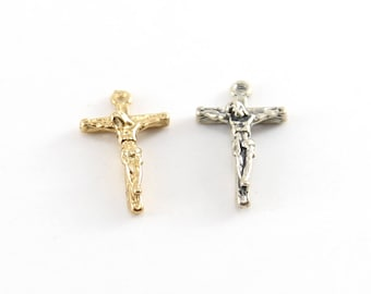 Mini Crucifix Charm in Sterling Silver and Vermeil Gold