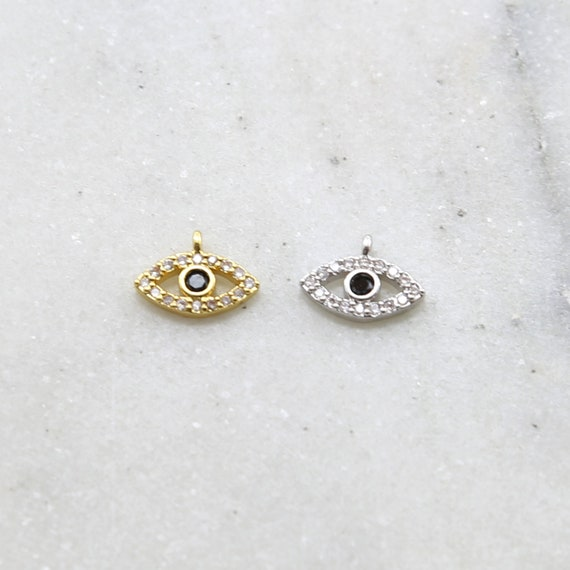 CZ Small Evil Eye Black Stone Eye Rhodium Plated Necklace Charm in Gold and Silver Sideways Loop