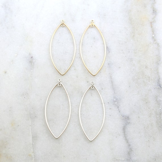 1 Pair Marquise Leaf Shape 47mm x 20mm Chandelier Finding Earring Component with Inside Ring in Sterling Silver or 14K Gold Filled