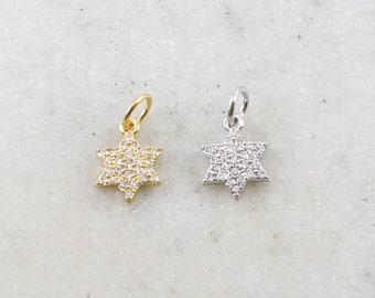 Small Star of David Rhodium Pave CZ Cubic Zirconia Star Charm Jewish Religious Spiritual Pendant