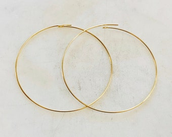 1 Pair 14K Gold Filled  Beading Hoop Earring Wire 50mm Earring Wires Earring Hoop Component