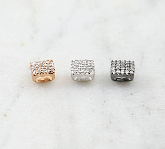 Pave CZ Rhodium Plated Large Hole Square Leather Slide Beads in Rose Gold, Silver, Gunmetal Shiny Sparkle Bead