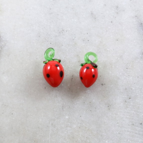2 Pieces Red Glass Strawberries Strawberry Charm Juicy Fruit Charm Cute Glass Charm Food Pendant