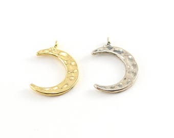 Hammered Textured Crescent Moon Charm Celestial Star Pendant in Sterling Silver and Vermeil Gold