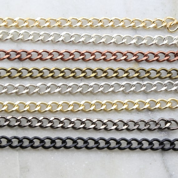 Base Metal Thick Faceted Diamond Cut Curb Chain in 8 Finishes Purse Chain Heavy Duty Sturdy Chain Openable Links / Chain By the Foot