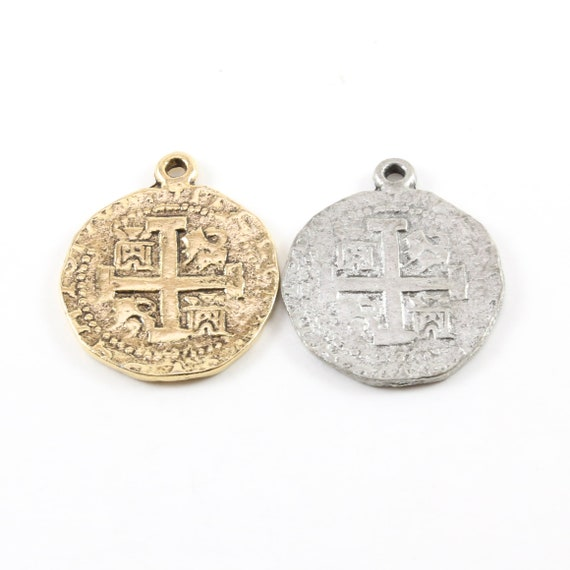 Ancient Extra Large Cross Circle Pewter Base Metal Cross Coin Charm Pendant Religious Spiritual Catholic Christianity Necklace Charm
