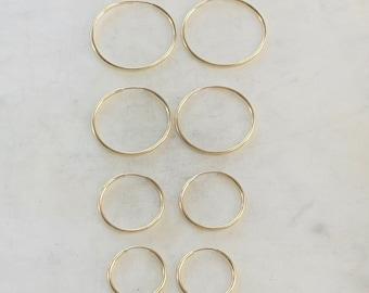 1 Pair 14K Gold Filled Large Endless Hoop Earrings  20mm, 24mm, 30mm, 35mm  Earring Wires Earring Hook Component