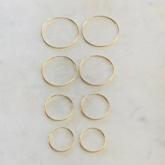 1 Pair 14K Gold Filled Large Endless Hoop Earrings  20mm, 24mm, 30mm, 35mm  Earring Wires Earring Hook Component