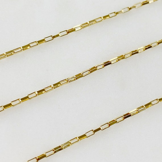 2mm x 1mm Dainty Venetian Faceted Elongated Flat Rectangle Cable Chain Box Chain 14K Gold Filled Sold by the Foot/ Bulk Unfinished Chain
