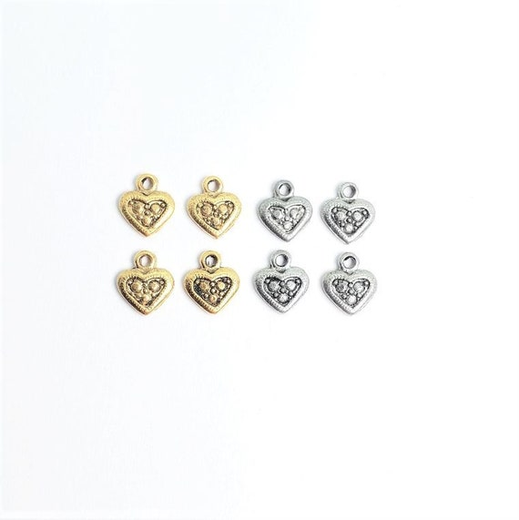 4 Pieces Pewter Teeny Tiny Heart Charm With A Smaller Dotted Heart In Center Dainty Heart Love Charm Antique Gold, Antique Silver