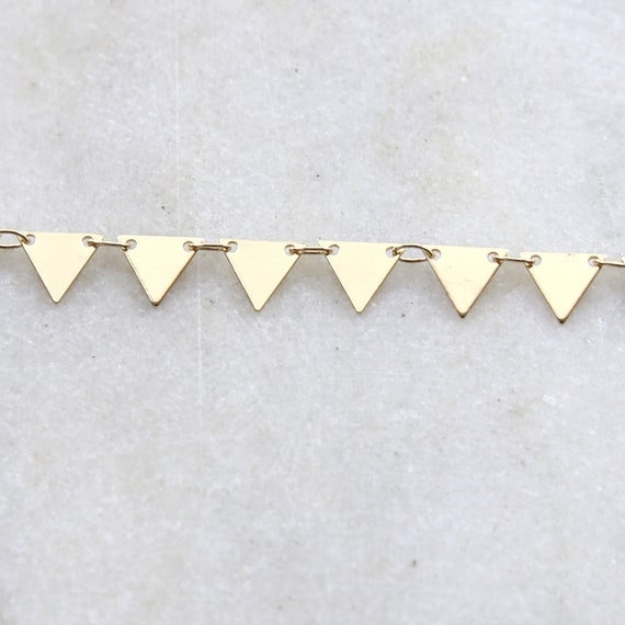 Gold Plated Base Metal Modern Triangle Dainty Minimal Connector Choker Bracelet Chain / Chain by the Foot