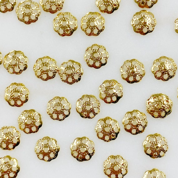 100 Piece 6mm Gold Plated Flower Bead Cap Jewelry Making Supplies