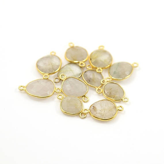 Golden Rutilated Quartz Natural Shaped Raw Nugget Faceted Connector Bezel Charm