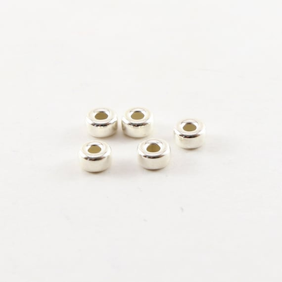 5 Pieces 5mm Smooth Pony Rondelle Seamless Sterling Silver 925 Spacer Beads