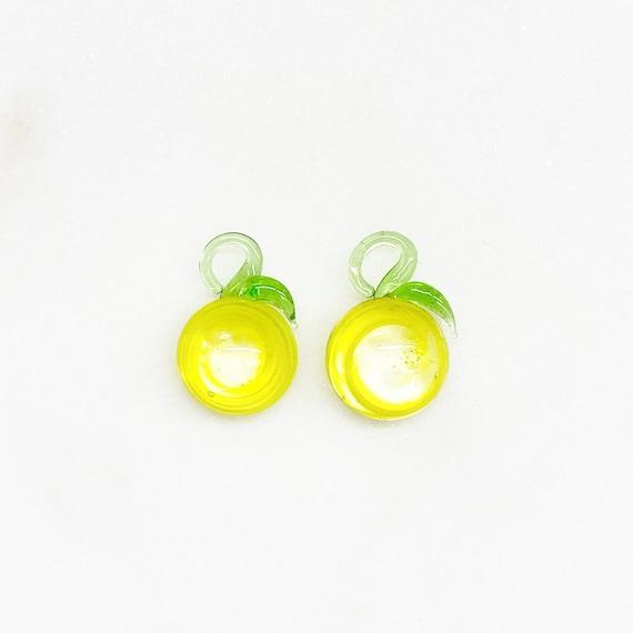 2 Piece Yellow Half Lime Swirl Glass Lemon Lime Charm Juicy Fruit Charm Cute Glass Charm Food Pendant