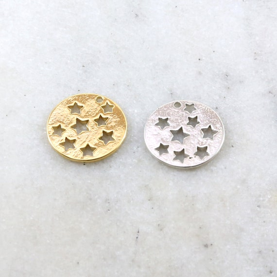 Celestial Star Cut Out Coin Disc Medallion Charm in Sterling Silver or Vermeil Gold Constellation Pendant