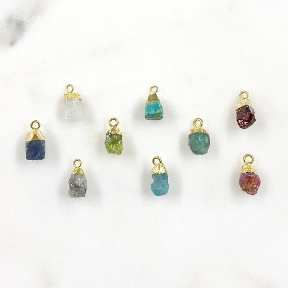 1 Piece Small Raw Nugget Gemstone Charm Choose Your Color Unique Small Pendant 1 Loop Gem Charm