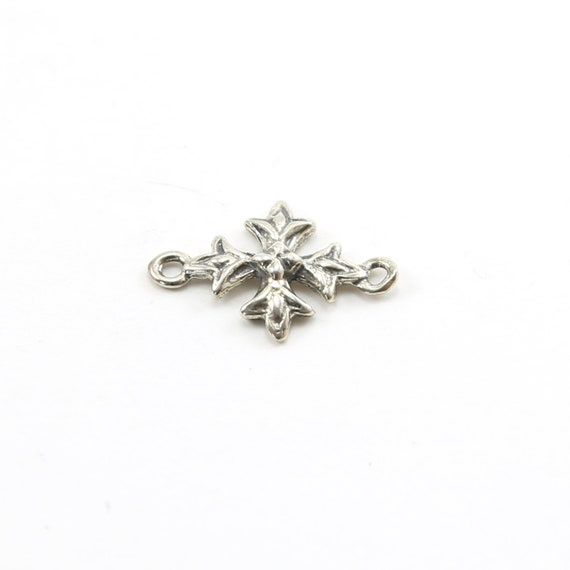 Sterling Silver Square Cross Charm Connector 2 Loop Pendant Religious Spiritual Catholic Pendant