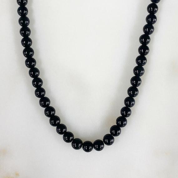 Shiny Black Onyx Natural Stone Beaded 15.5in Strand, 4mm Black Onyx Ball Beads