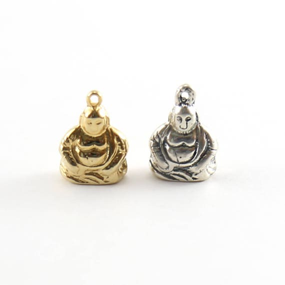 Thick Detailed Medium Size Buddha Yoga Charm Buddhism Pendant for Necklaces Sterling Silver or Vermeil Gold