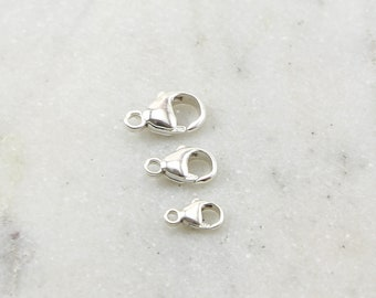 Sterling Silver .925 Rounded Lobster Clasp 3 Sizes Choose your Size 9mm,  11mm, 13mm Jewelry Making Supplies Chain Findings Sturdy