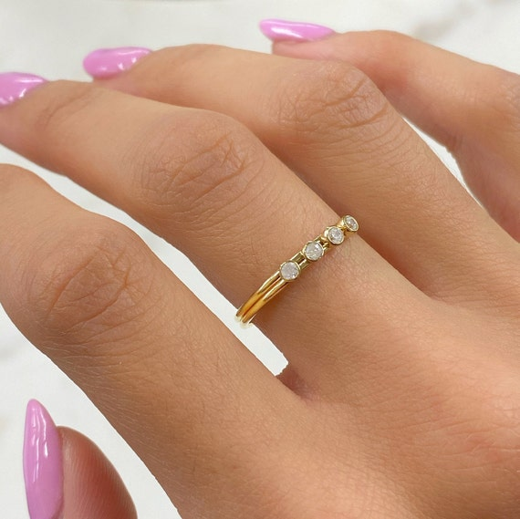 4 CZ Stone Simple Ring 14k Gold Filled CZ Ring in Size 7
