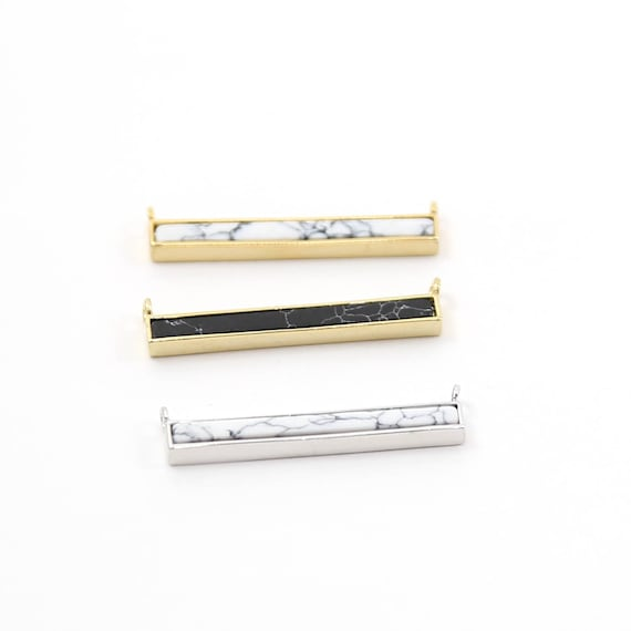 Black and White Howlite Marble Bar Necklace Connector Rhodium Plated Gold or Silver