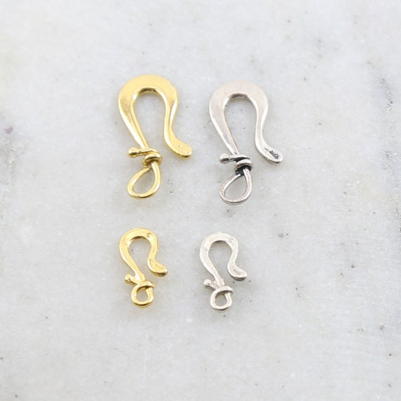 Organic Shape Flat Twist Wrap Hook Clasp Small and Large in Sterling Silver or Vermeil Jewelry Making Supplies Chain Findings