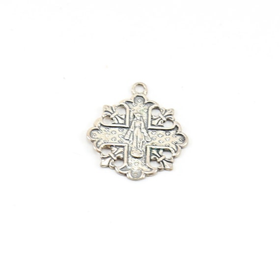 Sterling Silver Unique Virgin Mother Mary in Cross Rosary Prayer Pendant Charm