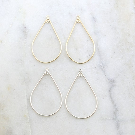 1 Pair Teardrop Shape 44mm x 25mm Chandelier Finding Earring Component with Inside Ring in Sterling Silver or 14K Gold Filled