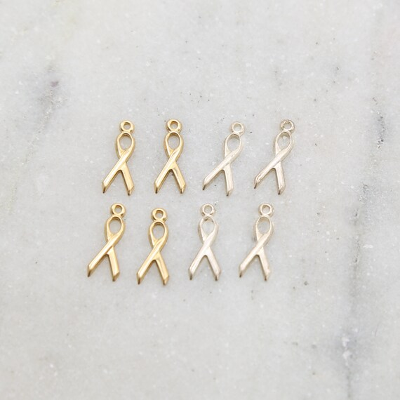 4 Pieces Awareness Ribbon Delicate Charm Sterling Silver or 14K Gold Filled