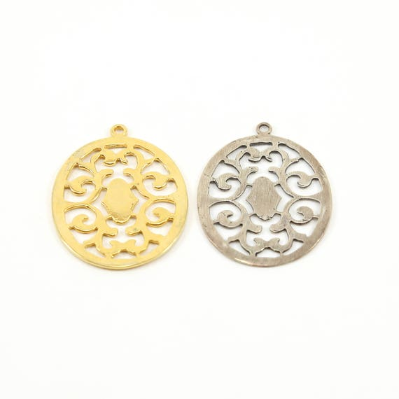 Large Filigree Art Decor Victorian Oval Round Pendant for Long Necklace or Big Earrings in Sterling Silver or Vermeil