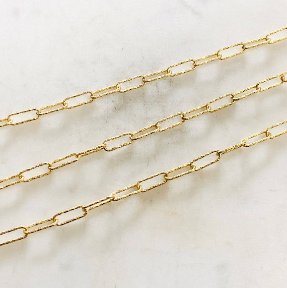 13.6mm x 4.8mm Unique Shimmer Elongated Rectangle Cut Cable Box Paper Clip Chain in Vermeil Sold by the Foot/ Bulk Unfinished Chain