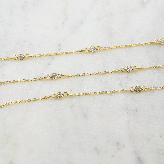 Tiny Circle Round CZ Cubic Zirconia Stone Link Chain in Gold Plated Sterling Silver Vermeil / Bulk Unfinished Chain Sold by the Foot