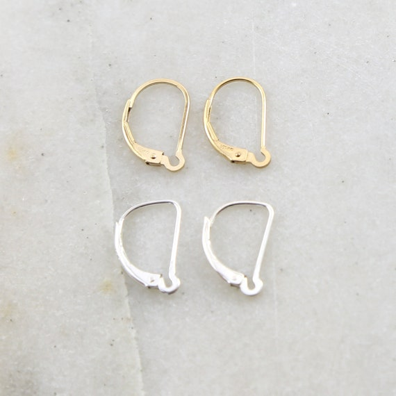 1 Pair Interchangeable Leverback Earring Hooks Earring Component in Sterling Silver or 14K Gold Filled