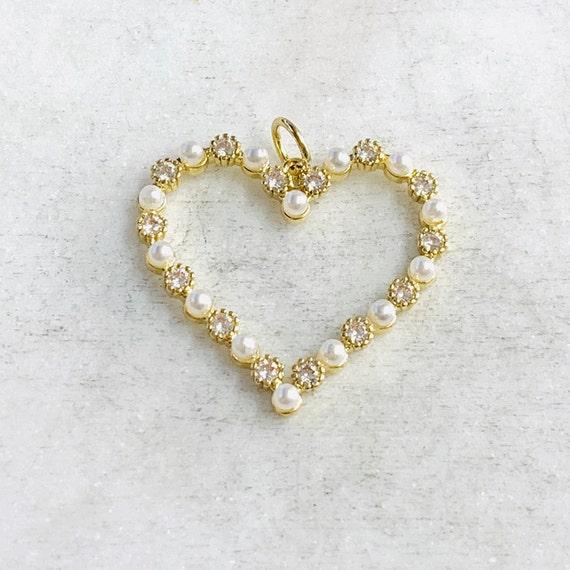 Unique Cubic Zirconia Pave Pearl Open Heart Pendant Love Pendant Gold Plated