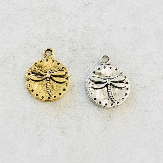 Pewter Base Metal Dragonfly Raised Coin Charm Insect Nature Spring Pendant