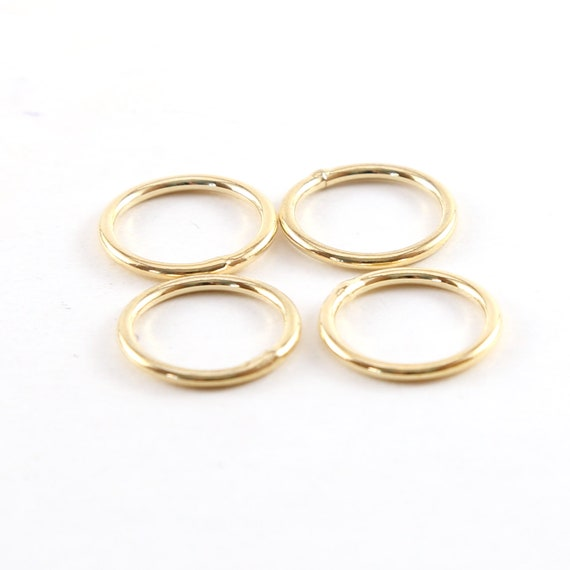 4 Pieces Medium 15mm Shiny Gold Smooth Open Circle Connector Ring Charm Rhodium Plated Brass