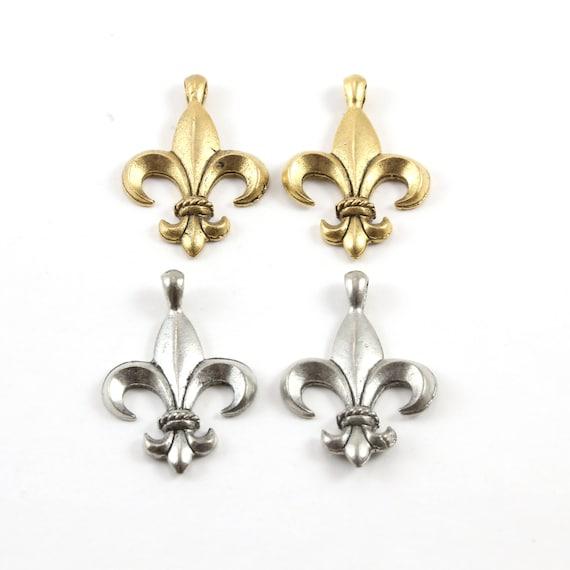 2 Pieces Large Fleur De Lis Rope Center Pendant Pewter Necklace Charm 31mm x 22mm in Antique Gold or Antique Silver