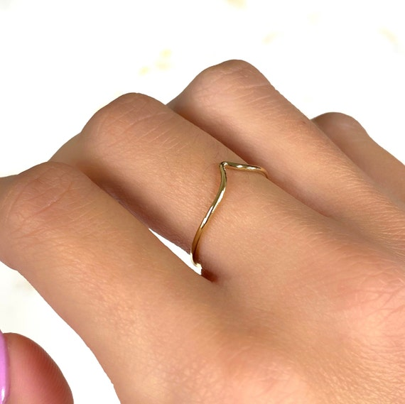 Thin Chevron Stackable Ring 14k Gold Filled Ring in Size 6 or 7
