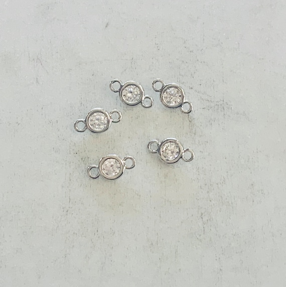 5 Teeny Tiny Silver Rhodium Plated 5mm CZ Cubic Zirconia Connector Charm Necklace Link
