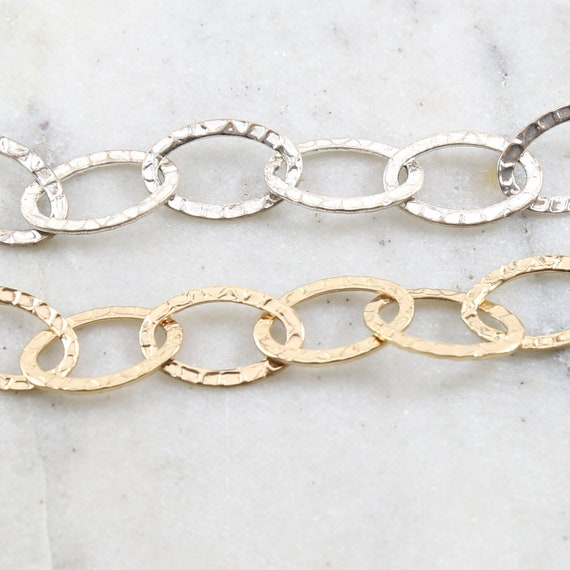 Base Metal Large Hammered Textured Oval Chain in Shiny Gold and Shiny Silver Nickel Lead Free / Chain By the Foot