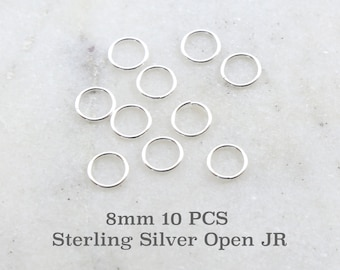 10 Pieces 8mm 19 Gauge Sterling Silver Open Jump Rings Charm Links Jewelry Making Supplies Sterling Findings
