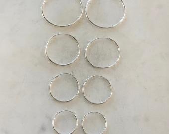 1 Pair Sterling Silver Small Endless Hoop Earrings 20mm, 24mm, 30mm, 35mm Earring Wires Earring Hook Component