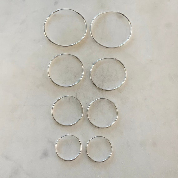1 Pair Sterling Silver Small Endless Hoop Earrings 20mm, 24mm, 30mm, 35mm Earring Wires Earring Hook Component