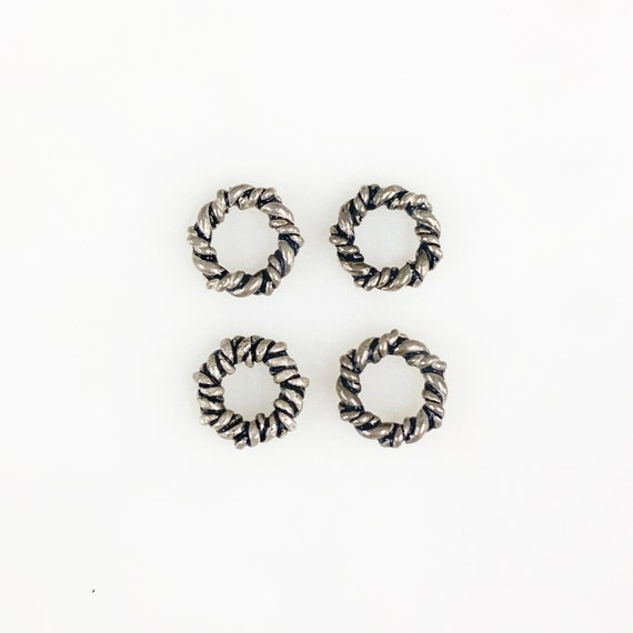 4 Piece Small Twisted Detail Connector Ring Charm Sterling Silver Open Ring Charm