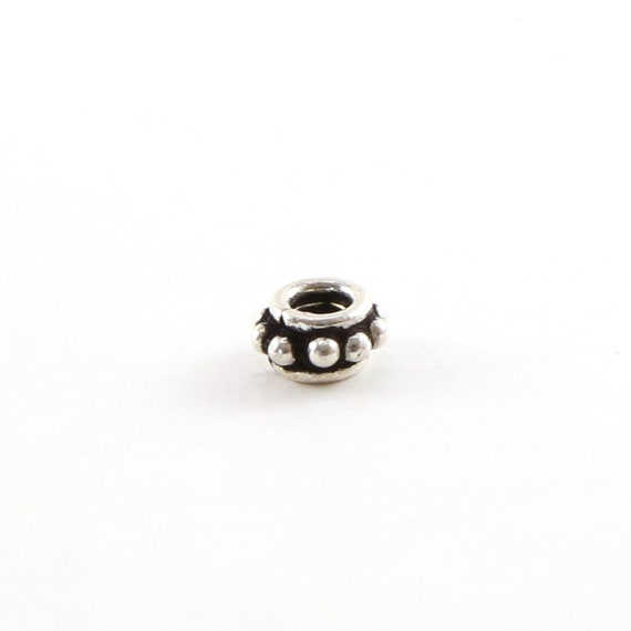Cute Sterling Silver Bali Style Rondelle Spacer Bead