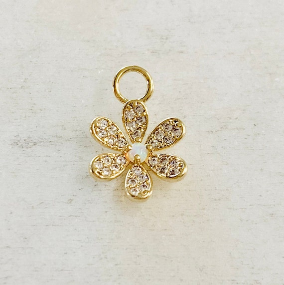 Dainty Cute Daisy Flower Opal Cubic Zirconia Gold Plated Pave CZ Charm Pendant Nature Charm
