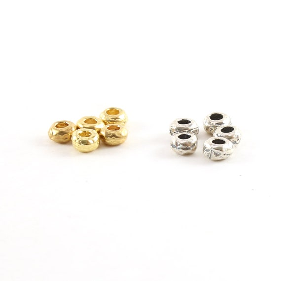 5 Pieces Artisan Organic Shape Rondelle 5mm in Vermeil or Sterling Silver Large Hole Spacer Beads