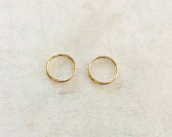 2 Pieces 10mm Shiny Gold Smooth Connector Ring Open Circle Charm 14K Gold Filled
